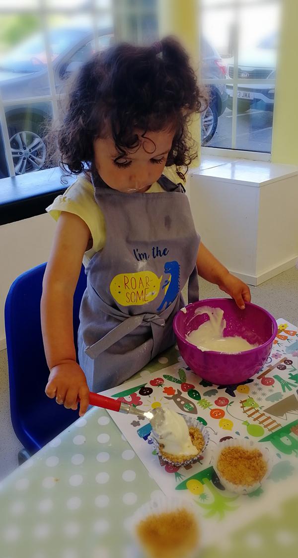 Toddler cooking at Totnosh