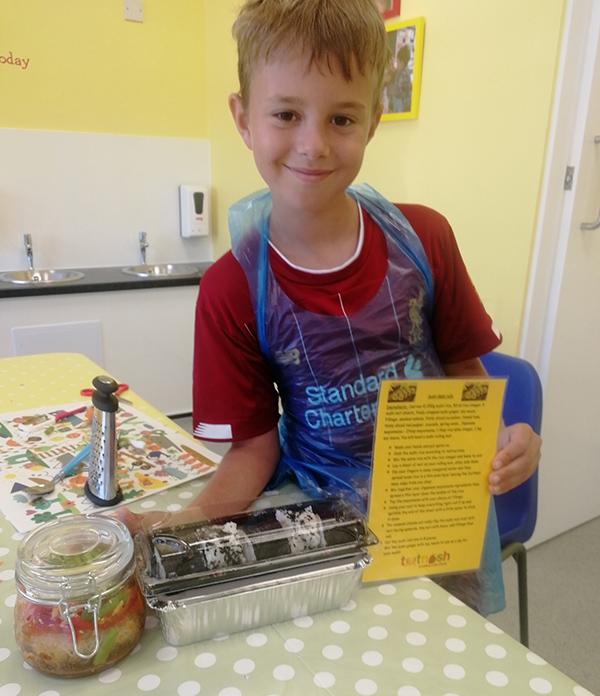 Totnosh cooking class boy with recipe